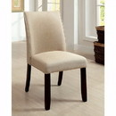Benzara BM131291 Cimma Contemporary Side Chair, Ivory & Espresso, Set Of 2