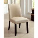 Benzara BM131291 Cimma Contemporary Side Chair, Ivory & Espresso, Set Of 2