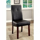 Benzara BM131340 Bonneville I Contemporary Side Chair With Black Pu, Set Of 2