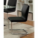 Benzara BM131342 Lodia I Contemporary Side Chair With Black Pu, Set Of 2