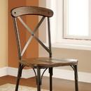 Benzara BM131346 Crosby Industrial Side Chair, Brown, Set Of 2