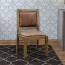 Benzara BM131348 Gianna Cottage Side Chair With Fabric, Rustic Pine, Set Of Two