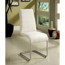 Benzara BM131375 Mauna Contemporary Side Chair With Steel Tube, White Finish, Set Of Two
