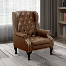Benzara BM131410 Vaugh Traditional Wing Accent Chair In Nail Head, Rustic Brown Finish