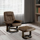 Benzara BM131439 Modish Multifunctional Swivel Lounger Chair With Ottoman, Brown