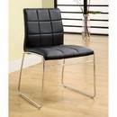 Benzara BM131830 Oahu Contemporary Side Chair With Steel Tube, Black Finish, Set Of 2