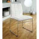 Benzara BM131831 Oahu Contemporary Side Chair With Steel Tube, White Finish, Set Of 2