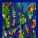 Benzara BM131865 Abbey Contemporary Kids Area Rug Street Map Blue with non Slipping Gel Back