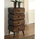 Benjara BM132794 Stacked Design 4 Drawer Metal Frame Accent Storage Chest with Splayed Legs, Gray and Brown