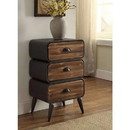 Benjara BM132795 Stacked Design 3 Drawer Metal Frame Accent Storage Chest with Splayed Legs, Gray and Brown