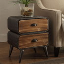 Benjara BM132796 Stacked Design 2 Drawer Metal Frame Accent Storage Chest with Splayed Legs, Gray and Brown