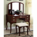 Benzara BM138071 Ashland Traditional Style Vanity Table, Cherry