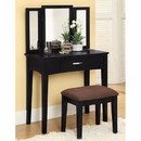Benzara BM138072 Wooden Vanity Set with 3 Sided Mirror and Padded Stool, Black