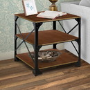 Benjara BM140125 Industrial Style 3 Tier Metal Side End Table with Wooden Shelves, Brown and Bronze