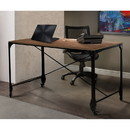 Benjara BM140126 Industrial Style Home Office Desk with Rectangular Wooden Top and Metal Legs, Brown and Bronze