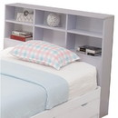 Benzara BM141867 Contemporary Style Glossy White Finish Full Bookcase Headboard With Six Shelves.