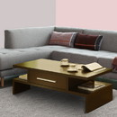 Benzara BM141958 Unique Style Coffee Table With Bar Handle Drawer, Brown