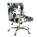 Benjara BM143954 Height Adjustable Swivel Office Chair with Metal Base, Black and White