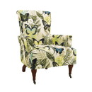Benjara BM144010 Fabric Upholstered Wooden Arm Chair with High Backrest, Multicolor