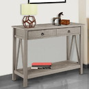 Benzara BM144103 Wooden Console Table with Two Drawers and One Bottom Shelf, Gray