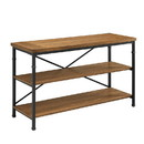Benzara BM144110 Wooden TV Stand with Two Open Shelves and Metal Feet, Brown and Black