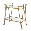 Benjara BM144195 2 Tier Mirror and Metal Bar Cart with Hairpin Legs, Gold and Clear