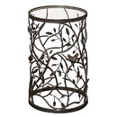 Benzara BM144204 Glass Top Iron Accent Table with Bird and Branch Motif, Brown and Clear
