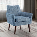 Benjara BM144315 Fabric Upholstered Button Tufted Wooden Chair, Blue and Brown