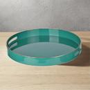 Benzara BM145602 Mimosa Round Tray With Cutout Handles, Green