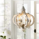 Benzara BM147073 Wood Metal Antique Chandelier, White