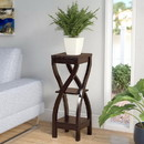 Benzara BM148788 Elegant Design Large Plant Stand, Dark Brown