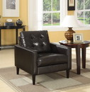 Benzara BM151917 Leatherette Accent Chair with Tufted Details and Track Armrests, Dark Brown