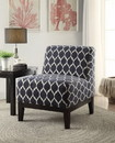 Benzara BM151968 Hinte Accent Chair, Dark Blue Chenille