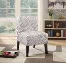 Benzara BM151973 Ollano Accent Chair, Pattern Fabric, Gray & White