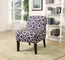 Benzara BM151974 Ollano Accent Chair, Pattern Fabric, Livid and White