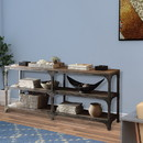 Benzara BM154233 Gorden Console Table With 4 Shelves, Weathered Oak & Antique Silver