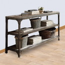 Benzara BM154234 Gorden Console Table With 2 Shelves, Weathered Oak & Antique Silver
