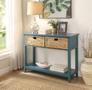 Benzara BM154249 Flavius Console Table with 2 Drawers, Blue