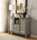 Benzara BM154253 Velika Console Table With 2 Doors and 2 Drawers, Weathered Gray