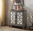 Benzara BM154254 Wooden Console Table with 2 Doors and Mirror Fronts, Weathered Gray