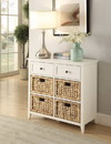 Benzara BM154276 Flavius Console Table With 6 Drawers, White