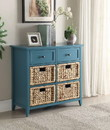 Benzara BM154277 Flavius Console Table With 6 Drawers, Blue