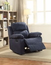 Benzara BM154330 Fabric Split Back Recliner with External Latch Handle and Glider, Blue