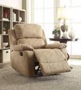 Benzara BM154333 Microfiber Upholstered Metal Recliner with External Latch Handle, Light Brown