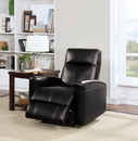Benzara BM154345 Blane Recliner (Power Motion), Black Leather