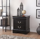 Benzara BM154517 Traditional 2 Drawers wood Nightstand By Louis Philippe III, Black