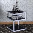 Benzara BM154558 Alyea End Table, Black Glass & Chrome