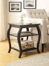 Benzara BM154581 Wooden End Table with 2 Open Shelves and Cabriole Legs, Black