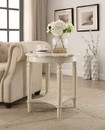 Benzara BM154599 Wooden End Table with Scalloped Round Top and Turned Legs Support, Cream