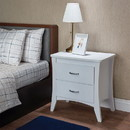 Benzara BM154624 Contemporary Style 2 Drawers Wood Nightstand By Babb, White